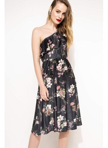 DeFacto Tek Omuz Çiçek Desenli Elbise Siyah